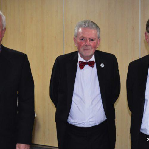 Secretary Jim Scott with South Wales Captain John Llewellyn and Secretary Jeff Price