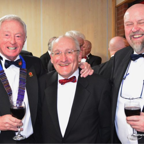 Sussex Captain Phil Williamson and Secretary Mark Terry with John Beer